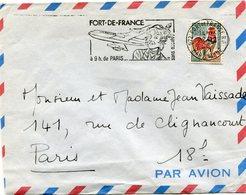 FRANCE LETTRE PAR AVION DEPART FORT-DE-FRANCE 27-12-6? MARTINIQUE POUR LA FRANCE - 1962-65 Cock Of Decaris
