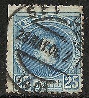 1901-1905-ED. 248 ALFONSO XIII TIPO CADETE 25 CTS AZUL-USADO FECHADOR SEVILLA 28MAY06 - 1889-1931 Royaume: Alphonse XIII