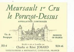 Etiquette Meursault 1 ér Cru Le Poruzot Dessus - Bourgogne
