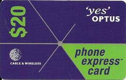 CARTE-PREPAYEE-AUSTRALIE-20$-2002-CABLE & WIRELESS-YES OPTUS- TBE- - Australie
