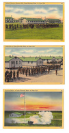 3 Camp Edwards Cape Cod MA Military Base Postcards Inspection Bayonet Drill Evening Salute - War 1939-45