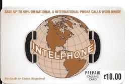 -CARTE-PREPAYEE-GB-10£-ACE-INTELPHONE--Plastic Epais-R° Glacé--TBE - Royaume-Uni