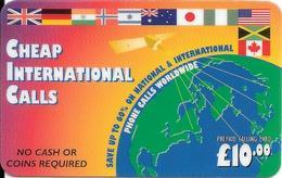 -CARTE-PREPAYEE-GB-10£-CHEAP INTERNATIONL CALLS--Plastic Epais-R° Glacé--TBE - Royaume-Uni