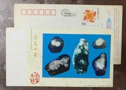 200 Million Years Ago Lower Algae Fossils,yongfeng Chrysanthemum Stone,CN 04 Ji'an New Year Greeting Pre-stamped Card - Minerali