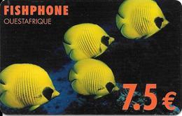 CARTE-PREPAYEE-FISHPHONE-7.5€-POISSONS TROPICAUX-OUESTAFRIQUE-R°/V° Glacé-Plastic EpaisTBE     - - Andere Voorafbetaalde Kaarten