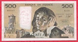 """500 Francs """"Pascal"""" Du 03/04/1980.D ----VF/SUP+-----ALPH .S.111 - 1962-1997 ''Francs''"""