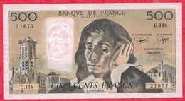 "500 Francs ""Pascal"" Du 05/09/1980.A ----XF/SUP+-----ALPH .U.118 - 1962-1997 ''Francs''"