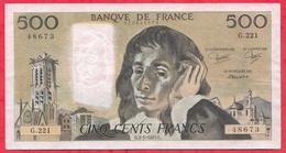 "500 Francs ""Pascal"" Du 03/01/1985.G ----F/TTB+-----ALPH .G.221 - 1962-1997 ''Francs''"
