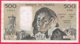 """500 Francs """"Pascal"""" Du 03/01/1985.F ----F/TTB+-----ALPH .D.220 - 1962-1997 ''Francs''"""
