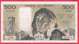 """500 Francs """"Pascal"""" Du 03/04/1985.F ----VF/SUP-----ALPH .S.230 - 1962-1997 ''Francs''"""