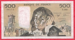 """500 Francs """"Pascal"""" Du 05/05/1988.E ----VF/SUP-----ALPH .X.282 - 1962-1997 ''Francs''"""
