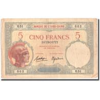 Billet, Côte Française Des Somalis, 5 Francs, KM:6b, TTB - Indochina