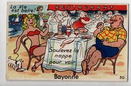 BAYONNE - 64 - Pays Basque - Carte à Système 10 Vues - La Vie Est Belle! Soulevez La Nappe Pour Voir Bayonne - Bayonne