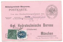 Bayern Postkarte Dienstsache  Mit Dienstmarken Hydrotechnische Bureau München - Bavaria