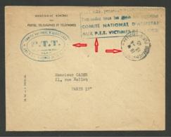 """Cachet """" Bureau Du Courrier Officiel """" Enveloppe Assistance Aux P.T.T. Victimes De La Guerre 13.04.1945 - Postmark Collection (Covers)"""