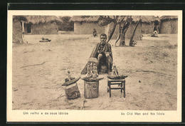 CPA Angola, Dorfansicht, An Old Man And His Idols - Cartes Postales