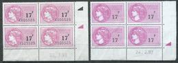 France Timbres Fiscaux 17F Rose (Bloc De Quatre Coin Daté) (avec Et Sans Numéro) Neuf ** 2ND CHOIX - Fiscaux