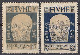 FIUME - 1920 - Lotto Di 2 Valori Nuovi MH: Yvert 98 E 100. - 8. WW I Occupation