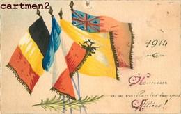 CARTE PEINTE A LA MAIN PATRIOTISME DRAPEAU DES TROUPES ALLIES FRANCE ANGLETERRE BELGIQUE  PATRIOTIQUE FLAG - Patriotiques