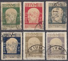 FIUME - 1920 - Lotto Di 6 Valori Usati: Yvert 96/98, 100, 102 E 103. - 8. Occupazione 1a Guerra