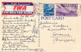 Italia 1948 Cartolina Illustrata Per La Svizzera Viaggiata Via Aerea TWA Con 15 Lire + 50 Lire Posta Aerea  Airmail - Poste Aérienne