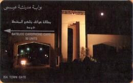 Bahrain - GPT, 1BAHF (b), Isa Town Gate (Small Notch), CN On Top, Bahrain By Night, 50Units, 15,000ex, 1988,Used - Bahrain