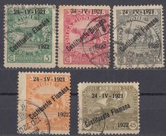 FIUME - 1922 - Lotto Di 5 Valori Usati: Yvert 159/163. - 8. Occupazione 1a Guerra