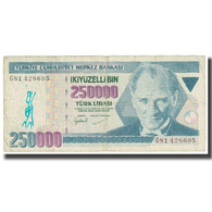 Billet, Turquie, 250,000 Lira, KM:211, TTB - Turquie