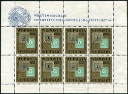 Germany 1951 Stuttgart WÜPOSTA Sheet Philatelic Exhibition Exposition Ausstellung Vignette Poster Stamp Reklamemarke - Philatelic Exhibitions