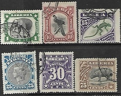 Liberia   1906   6 Diff Used To The 75c   2016 Scott Value $7.35  Including Elephant, Hippo, Hornbill - Liberia