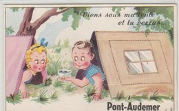 Viens Sous Ma Tente Et Tu Verras PONT-AUDEMER .CPSM PETIT FORMAT A SYSTEME...DEPLIANT ENTIER,NON ABIME - A Systèmes