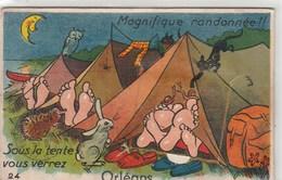 Magnifique Randonnee !! Sous La Tente Vous Verrez ORLEANS.CPSM PETIT FORMAT  A SYSTEME...DEPLIANT ENTIER,NON ABIME - A Systèmes