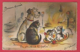 Germaine Bouret ... Bonne Année 1948 ... En Attendant Le Festin ... Chien Et Chats ( Voir Verso ) - Bouret, Germaine