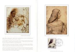 """"""" ISABELLE D'ESTE De LEONARD DE VINCI """" Sur Encart 1er Jour 4 Pages N°té Sur Soie De 1986. N° YT 2446. FDC - Arts"""