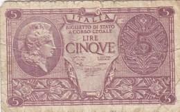 Italie - Billet De 5 Lire - 23 Novembre 1944 - Italia – 10 Lire