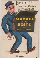 Boum !! V'la Le Facteur  Ouvrez La Boite   PARIS  .CPSM PETIT FORMAT  A SYSTEME...DEPLIANT ENTIER,NON ABIME - Mechanical