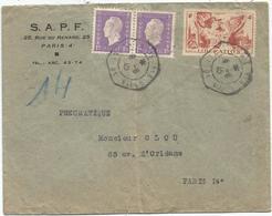 DULAC 1FRX2+N°739 PNEUMATIQUE C. HEX PARIS 113 HOTEL DE VILLE 8.6.1945 - Marcophilie (Lettres)
