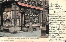 Bruxelles - Boulevard Du Nord Et Coin Rue Du Finistère (Papeterie Métrole, Animée Colorisée...morsures Du Temps !) - Ambachten