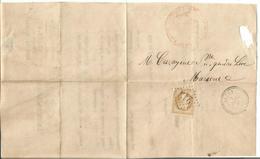 N° 28 SEUL GC 213 TYPE 22 AUCUN 1 SEPT 1868  LETTREJUSTICE DE PAIX - Marcophilie (Lettres)