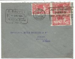 JEUX OLYMPIQUES 25CX3 LETTRE COVER MEC CONCORDANTE PARIS DEPART II.IV.1924 POUR SUISSE - Postmark Collection (Covers)