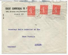 SEMEUSE LIGNEE N° 199 ROULETTE X3 LETTRE PARIS GARE DE L'EST 10.XI.1926 POUR SUISSE RARE - 1921-1960: Modern Period