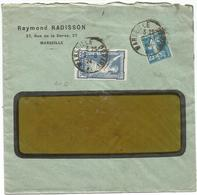 JEUX OLYMPIQUES 50C+ N°140 PERFORE RR RAYMOND RADISSIN MARSEILLE 1924 ENVELOPPE A FENETRE - Perfins
