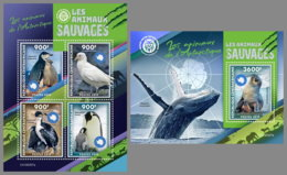 CENTRAL AFRICA 2019 MNH Antarctic Animals Tiere Der Antarktis Animaux De Antarctique M/S+S/S - IMPERFORATED - DH1922 - Antarctic Wildlife