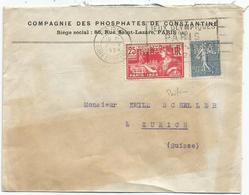 JEUX OLYMPIQUES 25CN°161  PERFORE MAT LETTRE ENTETE Jaunie  COMPAGNIE DES PHOSPHATES DE CONSTANTINE MEC PARIS JO 1924 - Perfins