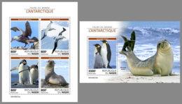 NIGER 2019 MNH Antarctic Animals Tiere Der Antarktis Animaux Antarctique M/S+S/S - OFFICIAL ISSUE - DH1922 - Faune Antarctique