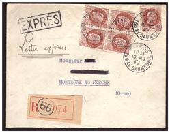 Bloc De 4 Du N° 517 Sur Lettre EXPRES De PARIS Pour MORTAGNE AU PERCHE Du 18.10.42. - France