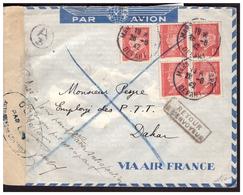 Bloc De 4 Du N° 514 Sur Lettre De MARSEILLE Pour DAKAR Du 28.8.42.  Retour à L'envoyeur Lettre Refusée Controle Postal - Frankreich