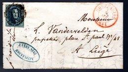 N° 7 Sur LAC Bien Margé Expédiée De Houffalize à Destination De Llège - 1851-1857 Médaillons (6/8)