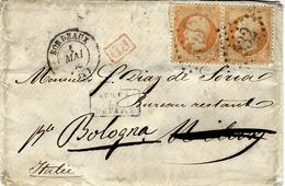 1863- Petite Env. De Bordeaux Pour Bologna ( Italie ) Cad T15 Affr. Paire N°23 Oblit. G C 532 - Marcofilie (Brieven)