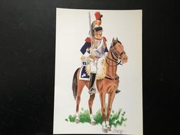 Postal Militar Coracero Ejercito Frances.. Uniformes Batalla De Bailen. - Uniforms